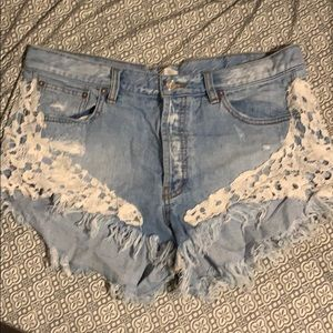 Free People Cut Off Denim Shorts